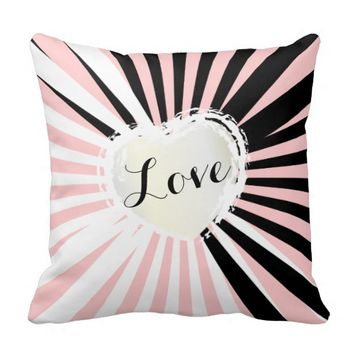 Black / White Abstract Stripes Love Heart