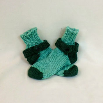 Thick House Socks - Green Tube Slippers - Ribbed Leg Ankle Warmer - Knit Slipper Socks
