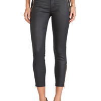 MOTHER Crop Zip Muse in Black