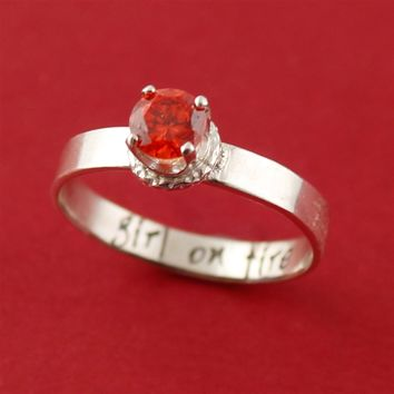 Hunger Games Girl on Fire Engagement Ring - Spiffing Jewelry