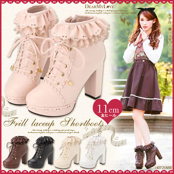 11cm thick heel♪Layered frill lace-up short boots◆8/20 ships planned
