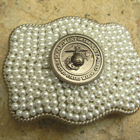 Marine Military Silver Pearl Belt Buckle , Western USMC Marine Belt, USMC Marine Corps Wife Girlfriend Mom, Marine Wedding, Semper Fi