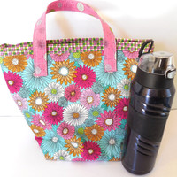 Insulated  Large Lunch Bag, Eco Friendly,  Pink Floral