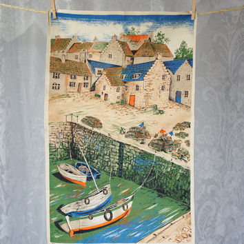 Vintage Irish Linen Tea Towel Seaside Village Scene Dunmoy Kitchen Dish Towel England Ireland Scotland Wales Cottage Fishing Village