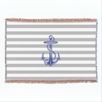 Blue Anchor Gray White Stripe Throw Balnket