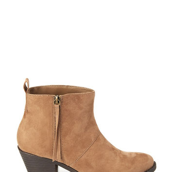 Zippered Faux Suede Booties