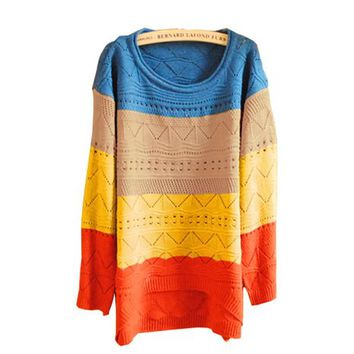 Vobaga Women's Multicolor Stripes Patchwork Jumper Pullover U-neck Sweater Knitwear