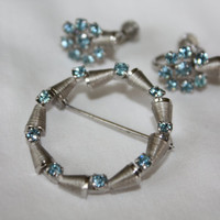 Sterling Brooch  Blue Rhinestone Set Earrings Vintage 1960s Jewelry