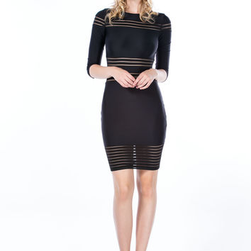 In My Shadow Mesh Sheer Stripe Dress