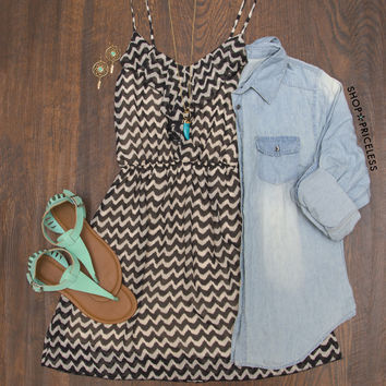 Nelly Chevron Dress - Black