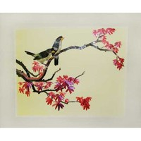 Birds in Japanese Maple - Vintage Woven Wheat Stalk Picture, Hand Crafted
