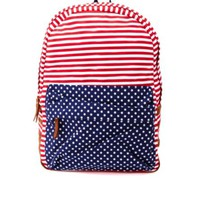 American Flag Print Canvas Backpack