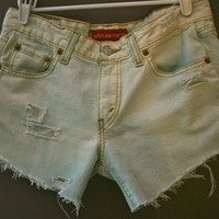 Distressed bleached Levi's by FashionDose on Etsy