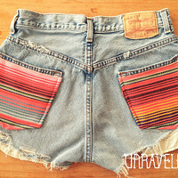 High Waisted Levis Serape Mexican Blanket by UnraveledClothing