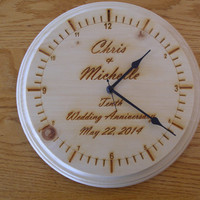 "Personalized wedding anniversary family couple  wall clock engraved wood 11"" diameter pine"