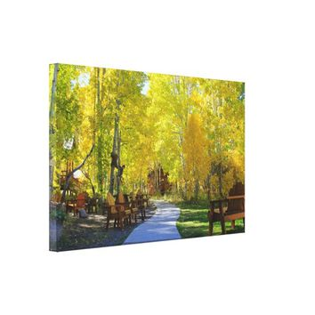 """Aspen Walkway"", Autumn, Wrapped Canvas"
