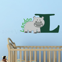 Baby hippo monogram wall decal, wall words sticker, decal, wall graphic, vinyl graphic wall decal, typography, vinyl decal, home decor