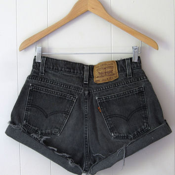 Vintage Levi's Black High Waisted Cut Off Denim Shorts Boyfriend Jean 28""