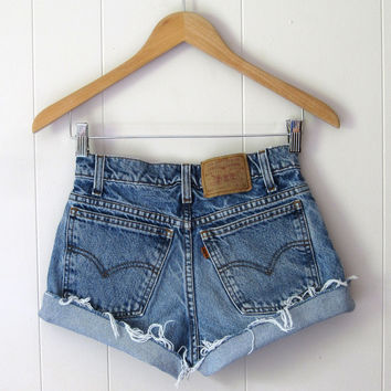 Vtg Levi's Medium Wash Mid High Waisted Cut Off  Denim Shorts Jean Cuffed 25""