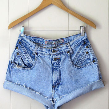 Vintage 90's Light Acid Wash High Waisted Cut Off Denim Shorts Jean Cuffed 28""