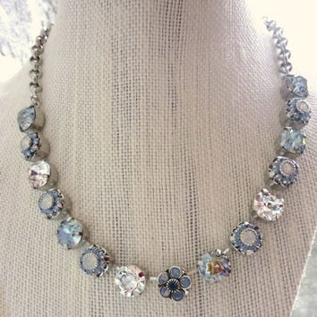"Amazing, Swarovski crystal necklace, 11mm ""Midnight shadow"", light blue floral, designer inspired, Siggy bling"