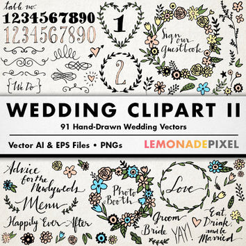 Wedding Clipart II - Floral clip art, hand drawn wedding, rustic wedding, boho clipart, casual wedding art, wedding embellishments