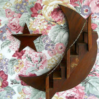 Vintage Wooden Moon and Star Knick Knack Shelf by whatnotsandsuch