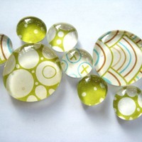 glass marble magnets green polka dots by dragonflies on Etsy