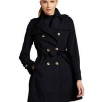 Tommy Hilfiger Women's Double-Breasted Belted Classic Trench Coat - Navy (Sizes XS - XL)
