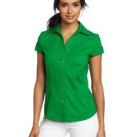 AK Anne Klein Women's Poplin Short Sleeve Shirt