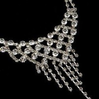 Sparkling Clear Crystals Diamond Accent Fashion Necklace Set