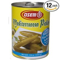 Osem Mediterranean Pickles, Medium (Kosher for Passover), 19-Ounce Cans (Pack of 12)