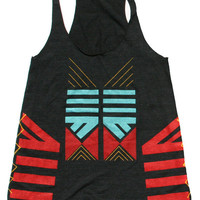 Caravanserai 1 Black TriBlend Racerback Tank S M &amp; by SEAMPOETS