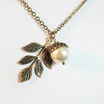 Acorn Necklace Acorn and Oak Leaf Necklace  Crystal Pearl Acorn Fall Wedding Bridesmaid Jewelry Plus Size Jewelry Friendship Gift
