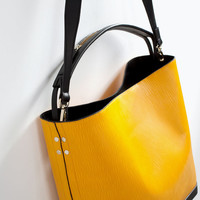 TWO-TONE LEATHER SHOPPER