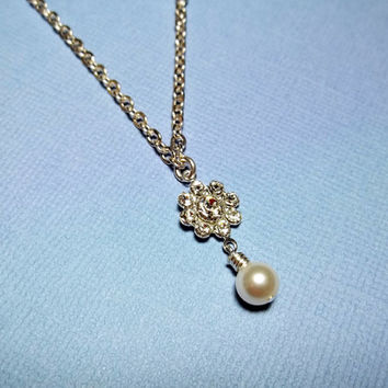 SALE...Pearl Necklace With Rhinestone Flower Friendship Gift Flower Your Necklace Girl Necklace Wedding Jewelry