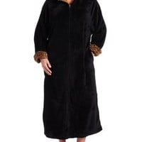 Casual Moments Womens 52 Inch Plus-Size Breakaway Zip Leopard Trim Robe