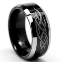 8MM Black Men&#x27;s Tungsten Ring with Laser Etched Tribal Design Size 7