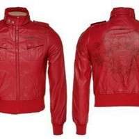 LIVE MECHANICS Leather Perforated Jacket [F9LO01], Pompean Red