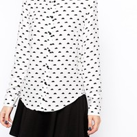 ASOS PETITE Long Sleeve Blouse in Mono Cloud Print
