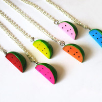 Kawaii Watermelon Slice Necklace - Watermelon Necklace for kawaii and lolita lovers - kawaii jewelry for geeks!