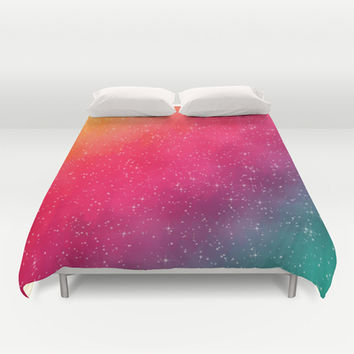 Colorful Galaxy Duvet Cover by Texnotropio