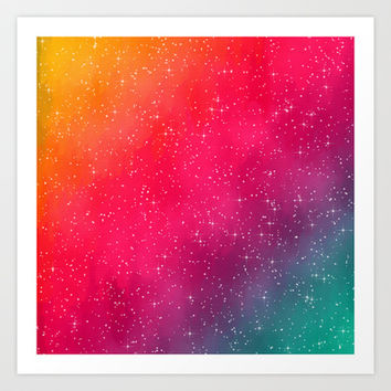 Colorful Galaxy Art Print by Texnotropio