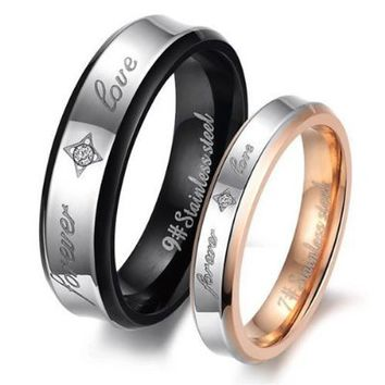 "KONOV Jewelry Fashion Stainless Steel ""Forever Love"" Couples Promise Ring Mens Womens Wedding Bands"