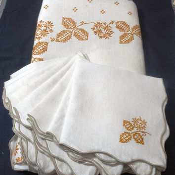 Vintage Linen Dinner Tablecloth & 8 Napkins with Gold Hand Embroidery