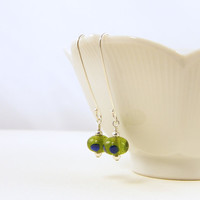 Olive Green Earrings, Long Sterling Silver Earrings with Navy Blue Polka Dots