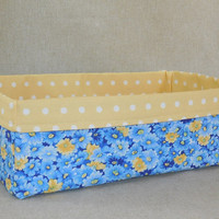 Beautiful Blue and Yellow Floral Fabric Basket