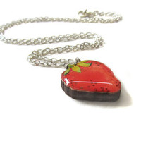 Handmade Red Strawberry Fruit Charm Necklace