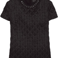 Lanvin | Crystal-embellished quilted satin top | NET-A-PORTER.COM