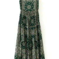 Green Spaghetti Strap Totem Print Pleated Dress - Sheinside.com